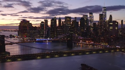 Fototapete - New York City downtown buildings skyline aerial sunset evening