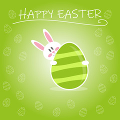 Cute rabbit holding Easter egg. Easter egg card with Happy Easter inscription