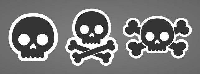 Cartoon robot skulls machine head crossbones icons vector illustration