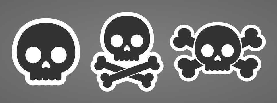 Cartoon robot skulls machine head crossbones icons vector illustration
