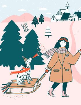 Illustration of woman pulling her dog on sled on snow covered landscape