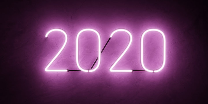 Luminous glowing purple neon tubes 2020