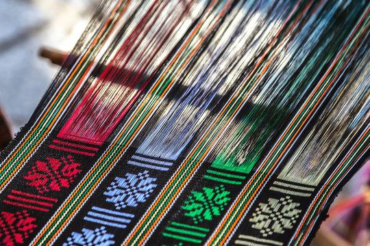 weaving on a hand loom