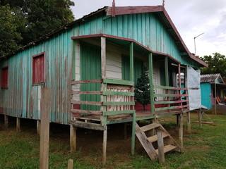 Wooden houses built on high stilts called in Portuguese palafitas. Amazon near Mamori Lake, Brazil