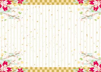 春 桜 金紙吹雪 ストライプ背景