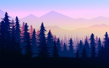 In de dag Purper Natural Pine forest mountains horizon Landscape wallpaper Mountains lake landscape silhouette tree sky Sunrise and sunset Illustration vector style colorful view background
