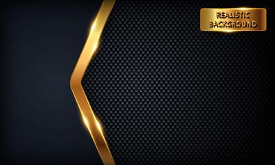 Dark blue overlap background. Texture with golden line, metal pattern and golden light.
