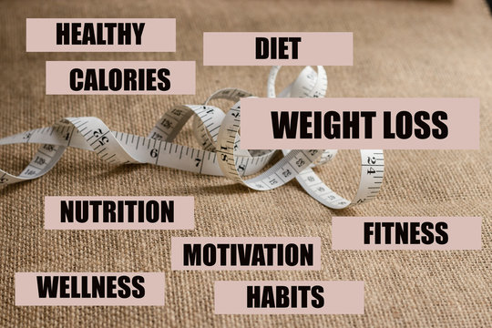 WEIGHT LOSS words and text associated with it. With body tape measure