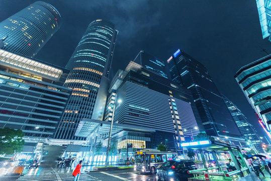 Nagoya, Japan - June 7, 2017 : Downtown of Nagoya city, Japan at night