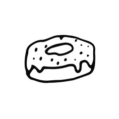 Cute donut in hand drawn doodle style. For your seasonal design, packaging, menus and stickers. Isolated on white background