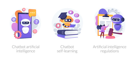 Wall Mural - AI technology, smart chat bot. Machine learning. Chatbot artificial intelligence, chatbot self-learning, artificial intelligence regulations metaphors. Vector isolated concept metaphor illustrations.