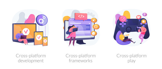 Multi-platform software. Responsive app coding and programming. Cross-platform development, cross-platform frameworks, cross-platform play metaphors. Vector isolated concept metaphor illustrations. Fototapete