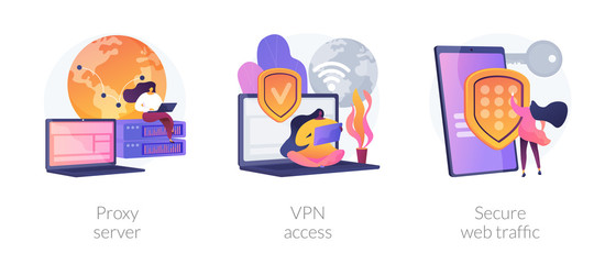 Wall Mural - Secure network connection and privacy protection. Internet service provider. Intranet access. Proxy server, VPN access, secure web traffic metaphors. Vector isolated concept metaphor illustrations.