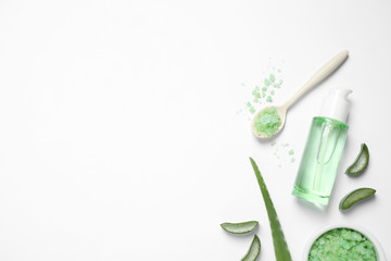 Flat lay composition with aloe vera and cosmetic products on white background