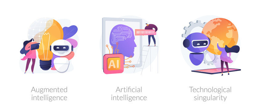 World technology progress and modern innovations. Augmented intelligence, artificial intelligence, technological singularity metaphors. Vector isolated concept metaphor illustrations.