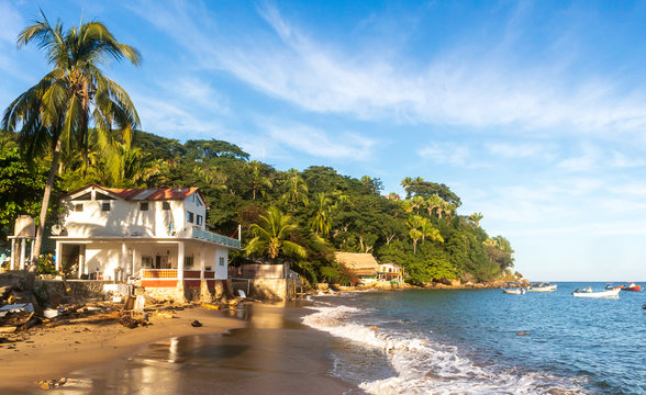 Tropical beach on a sunny day. Yelapa, Jalisco, Mexico.