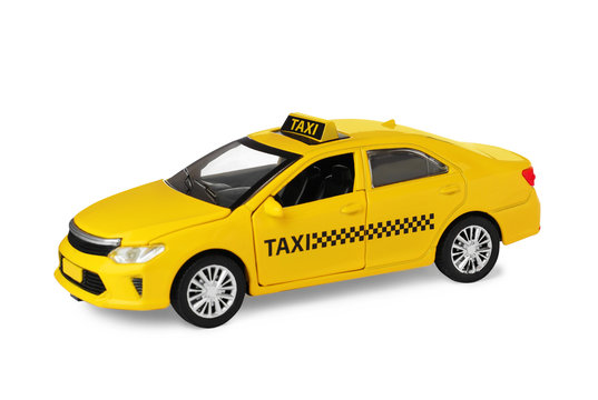 Yellow taxi car model isolated on white