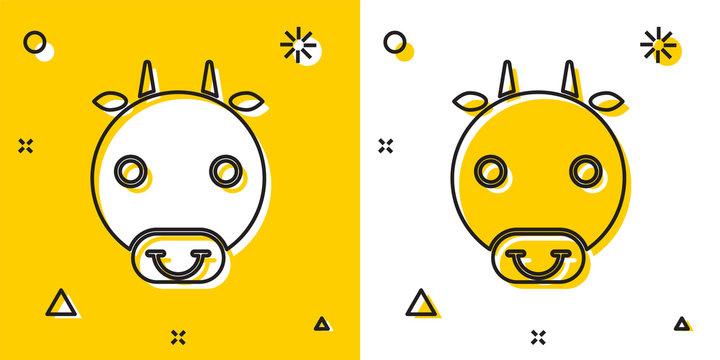 Black Ox zodiac sign icon isolated on yellow and white background. Astrological horoscope collection. Random dynamic shapes. Vector Illustration