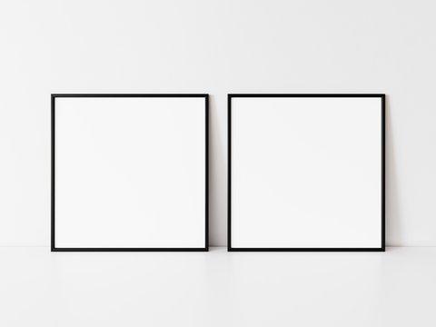 Two square black frame mockup. Set of Two black frame mock up poster. 2 square frame 3d illustrations.