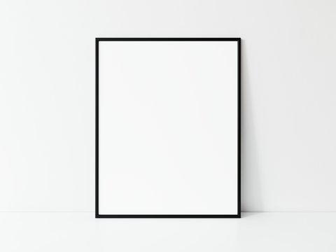 Vertical black thin frame mockup. Minimal black frame. Black slim frame mock up 3d illustrations.