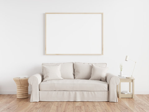 Cozy interior poster mock up with horizontal white frames, beige sofa on wooden floor, wooden side table and table lamp in living room with white wall. 3d illustrations.