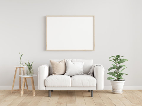 Scandinavian interior poster mock up with horizontal wooden frames, light grey sofa on wooden floor, wooden side table and green plant in living room with white wall. 3d illustrations.