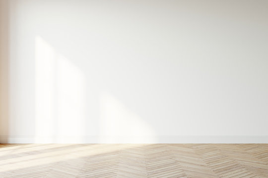 Empty wall mockup. Empty room with a white wall and wood floor. 3D illustration.