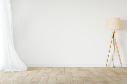 White empty room mockup with with sheer curtain, wood floor lamp and wood floor. 3D illustration.