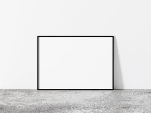 Horizontal black frame mockup. Minimal black frame on concrete floor. Minimal loft 3d illustrations.