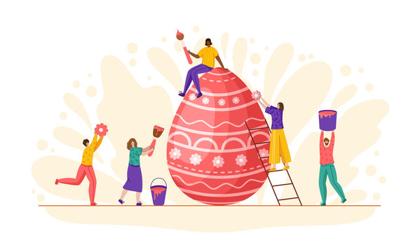 Easter Day - miniature people decorate giant easter eggs, tiny man and woman with macro spring holiday objects, teamwork concept, ideal for banner, website, cards - vector flat or handdrawn characters