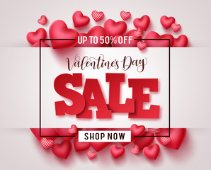 Photo sur Toile Les Textures Valentines day sale vector promotional banner. Valentine sale 3D text with heart shapes elements in white background for valentines day discount promotion. Vector illustration.