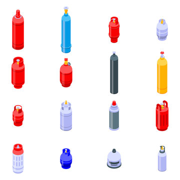 Gas cylinders icons set. Isometric set of gas cylinders vector icons for web design isolated on white background