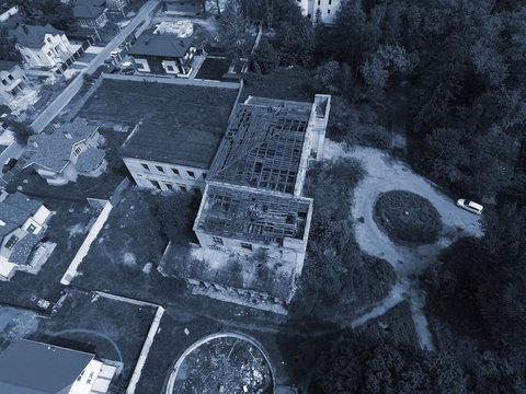 Abandoned Soviet radio communication centre (drone image)  Kiev, Ukraine