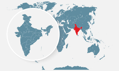 Vector template India country map divided on state