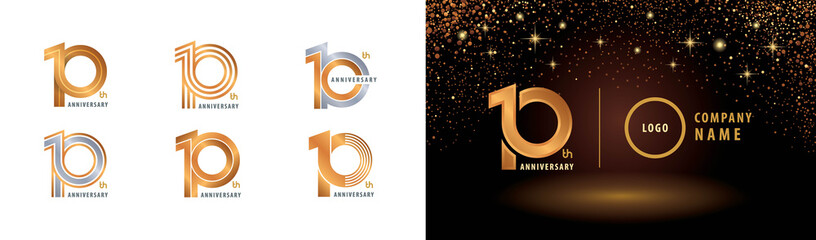 Set of 10th Anniversary logotype design, Ten years anniversary celebration