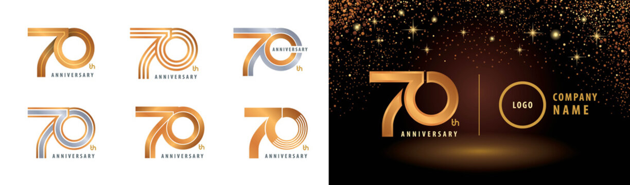 Set of 70th Anniversary logotype design