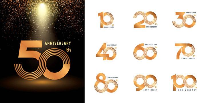 Set of Anniversary logotype design, Celebrating Anniversary Logo multiple line silver and golden