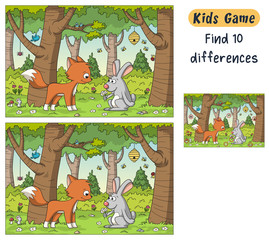 Wall Mural - Find 10 differences. Funny cartoon game for kids, with solution. Vector illustration with separate layers.