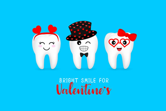 Cute cartoon tooth character with heart. Bright smile for Valentine's concept. Illustration isolated on blue background.