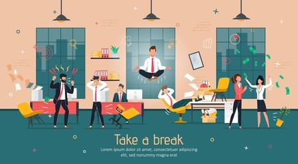 Break in Intensive Office Work, Stress Relief and Concentration Recovery Trendy Flat Vector Banner, Poster Template. Pacified Businessman, Company Employee Flying Over Worried Colleagues Illustration