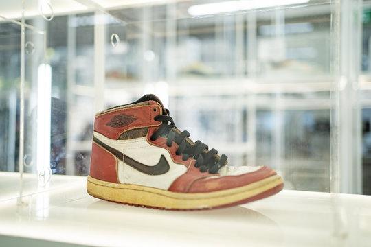 Bangkok, Thailand - January 4, 2020 : Old Nike Air Jordan sneakers in the showcase.