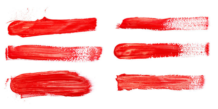 Red paint brush strokes, acrylic drawing. Isolated.