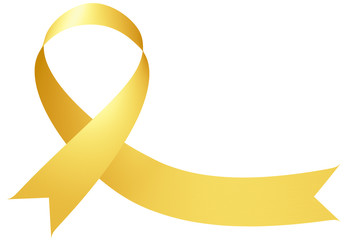 Yellow ribbon International Childhood Cancer Awareness Day symbol isolated on white Fototapete
