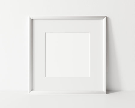 Square white frame mockup. White empty frame mock up. 3d illustrations.