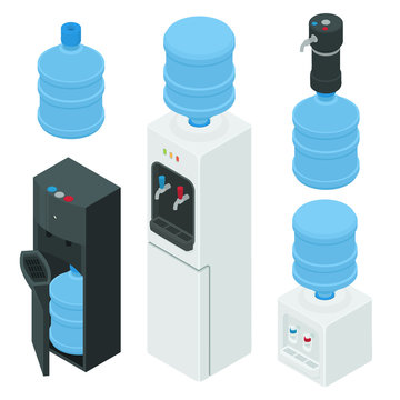 Cooler water icons set. Isometric set of cooler water vector icons for web design isolated on white background