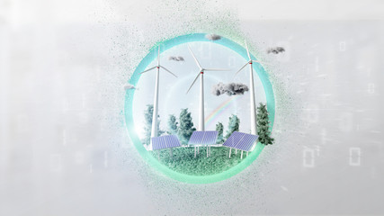 Windturbines and solar panel producting clean energy - 3d rendering