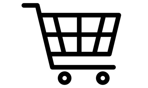 Shopping cart icon on Ideal for e-commerce. Editable lines