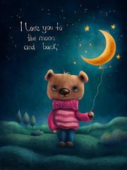 Cute bear with a moon baloon