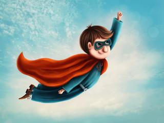 Cute flying superhero