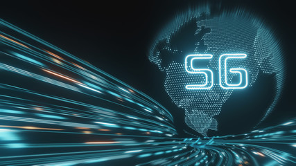 3D Rendering of 5G text glowing over hologram globe and abstract fast data transfer in glow red and blue color background. Concept of high speed next generation network. Telecom technology innovation